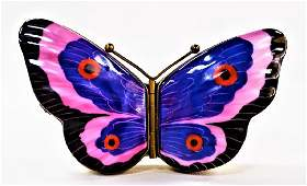 LIMOGES FRENCH HP PORCELAIN HINGED BUTTERFLY BOX