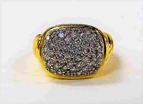 LADIES 18KT YELLOW GOLD & DIAMOND CLUSTER RING