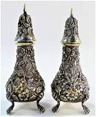 PR SCHOFIELD STERLING FOOTED SALT  PEPPER SHAKERS