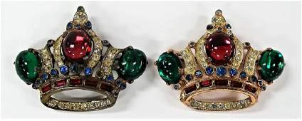 PR OF VTG JEWELED CORO CRAFT STERLING CROWN PINS