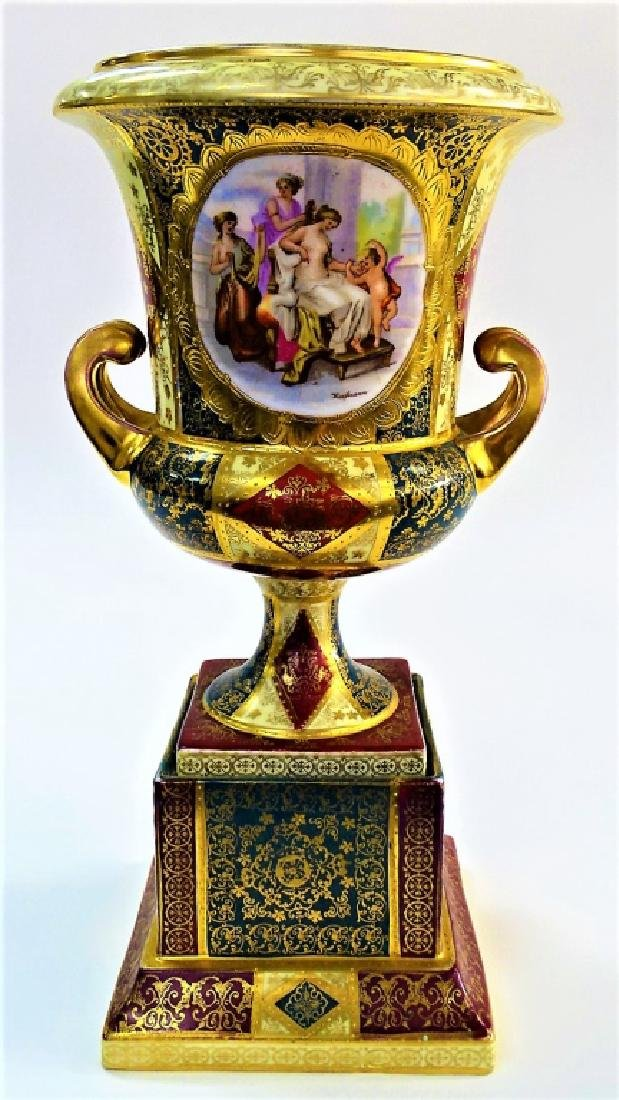 ROYAL VIENNA H/P PORCELAIN FOOTED URN ON STAND