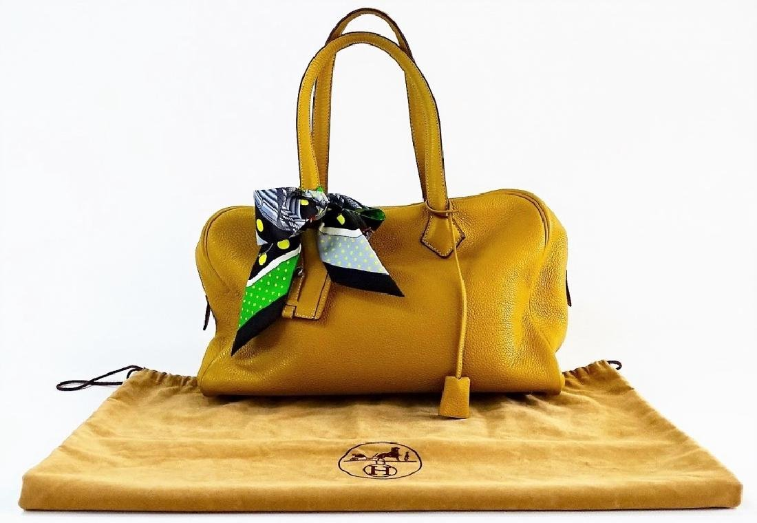 AUTHENTIC HERMES VICTORIA II LEATHER TOTE BAG