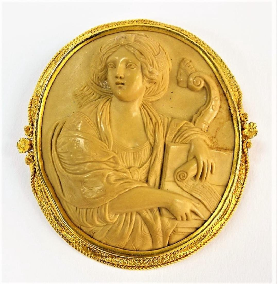 HUGE 14KT Y GOLD AND LAVA CAMEO PIN