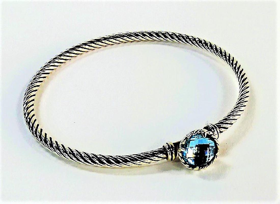 D. YURMAN 925 STERLING & BLUE TOPAZ CABLE BRACELET