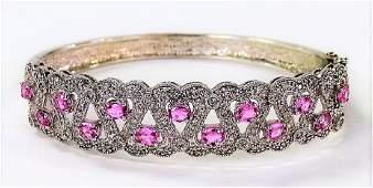 FANCY 14KT WG PINK SAPPHIRE & DIAMOND BRACELET