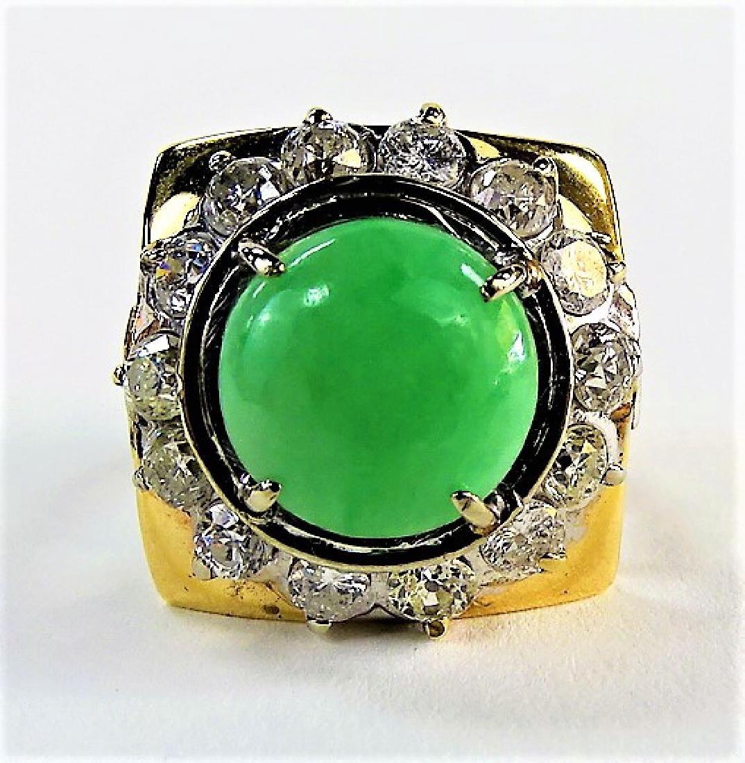LADIES EXTRAVAGANT 14KT YG JADEITE & DIAMOND RING