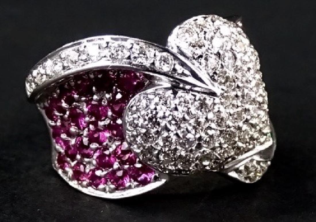 LADIES FANCY 14KT WG RUBY & DIAMOND HEART RING