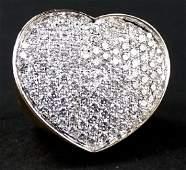 LADIES FANCY 18KT YG DIAMOND HEART STATEMENT RING