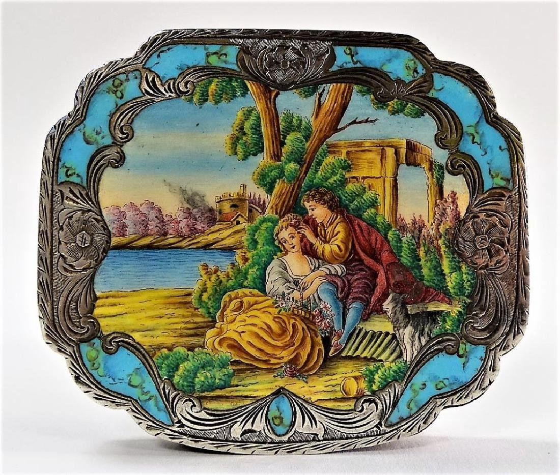 ANTIQUE 800 SILVER AND ENAMELED COMPACT