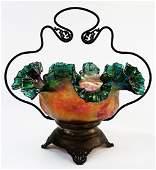 VICTORIAN BLOWN ART GLASS BRIDE'S BASKET