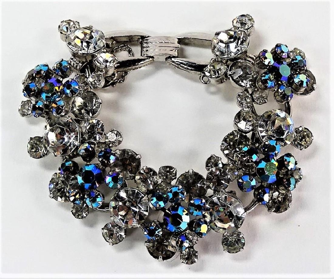 VINTAGE COSTUME CLEAR AND SMOKED GLASS BRACELET
