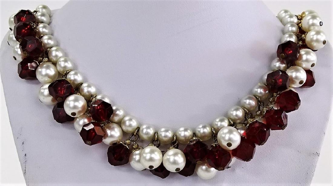 HOBE SIGNED VINTAGE DAUX PEARL AND RUBY NECKLACE