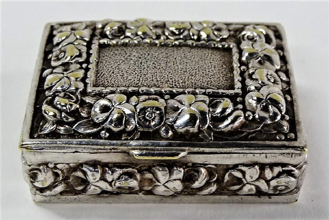 ANTIQUE STERLING SILVER REPOUSSE PILL BOX
