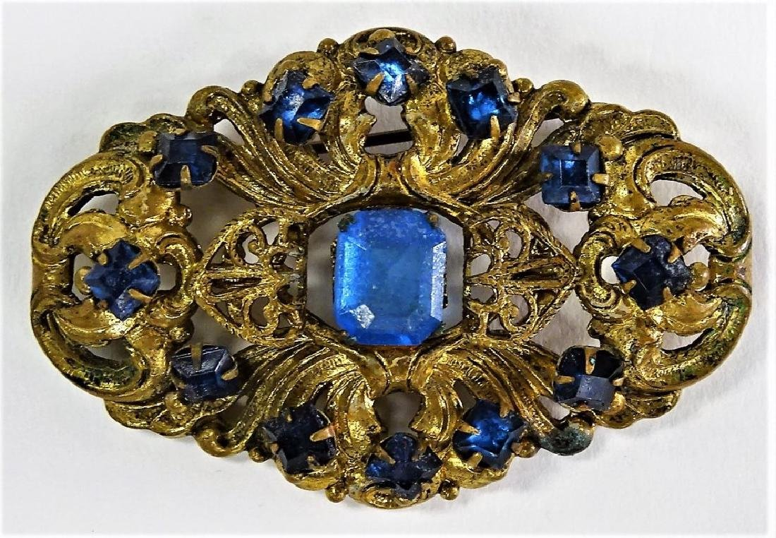 ANTIQUE AUSTRO HUNGARIAN JEWELED VERMEIL BROOCH