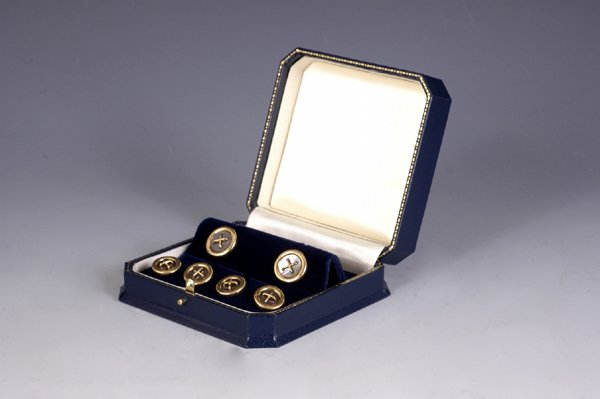 14: French 18k Gold Buttons Cufflinks Stud Set