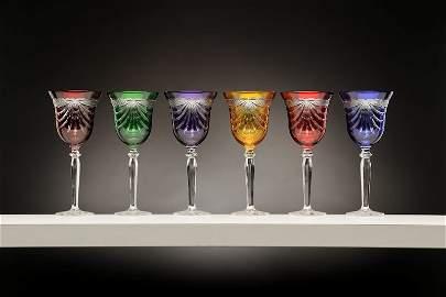 Set of 6 Wine Multicolor Crystal Glasses w/Drape Cut