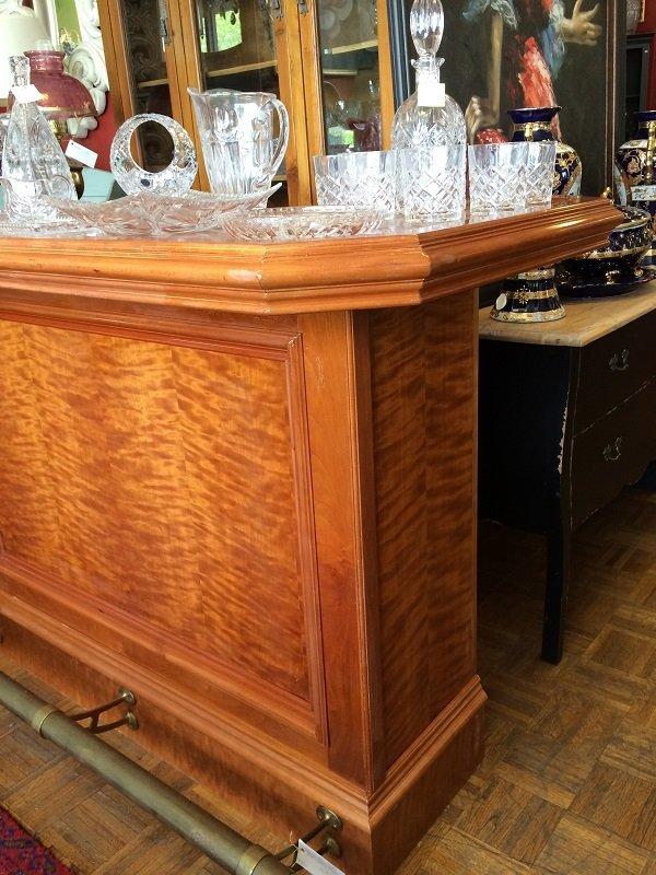 Custom Bar with Brass Foot Rail and Bar-Back Storage - 2