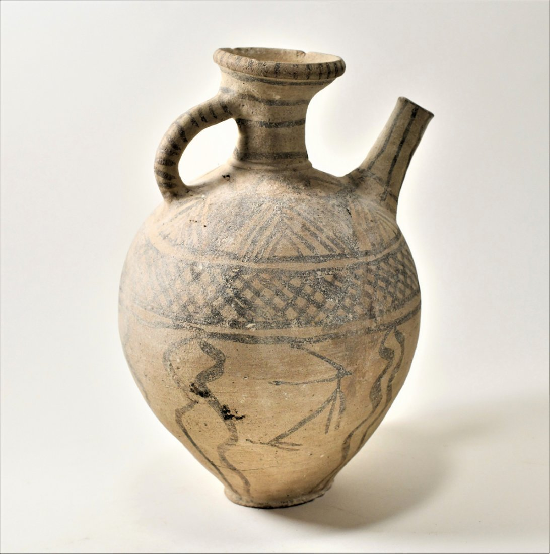 An Ancient Holy Land Decorated Spouted Pottery Jug