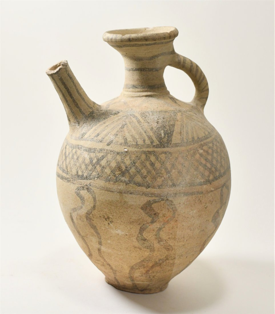 An Ancient Holy Land Decorated Spouted Pottery Jug - 2