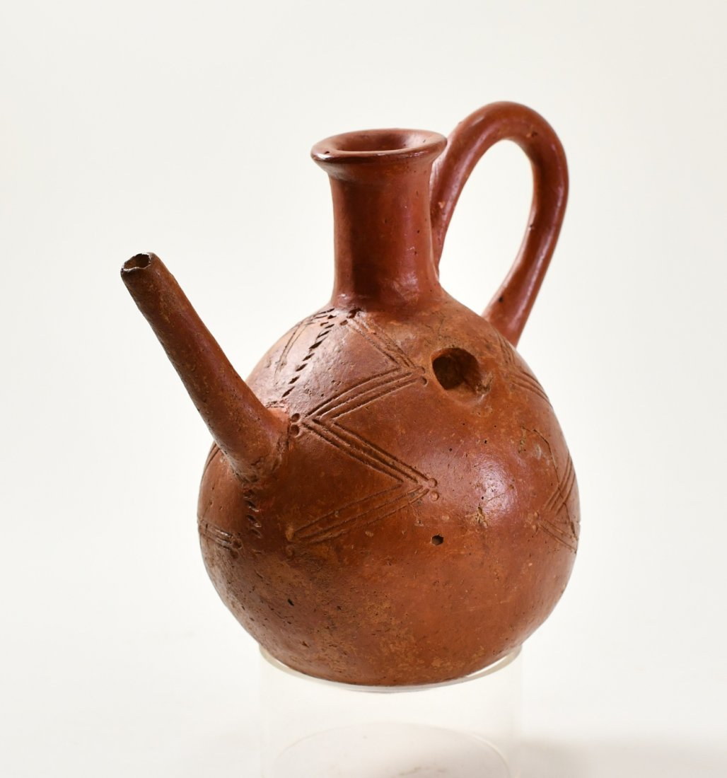 A Cypriot Red Polished Ware Spouted Pottery Jug - 3