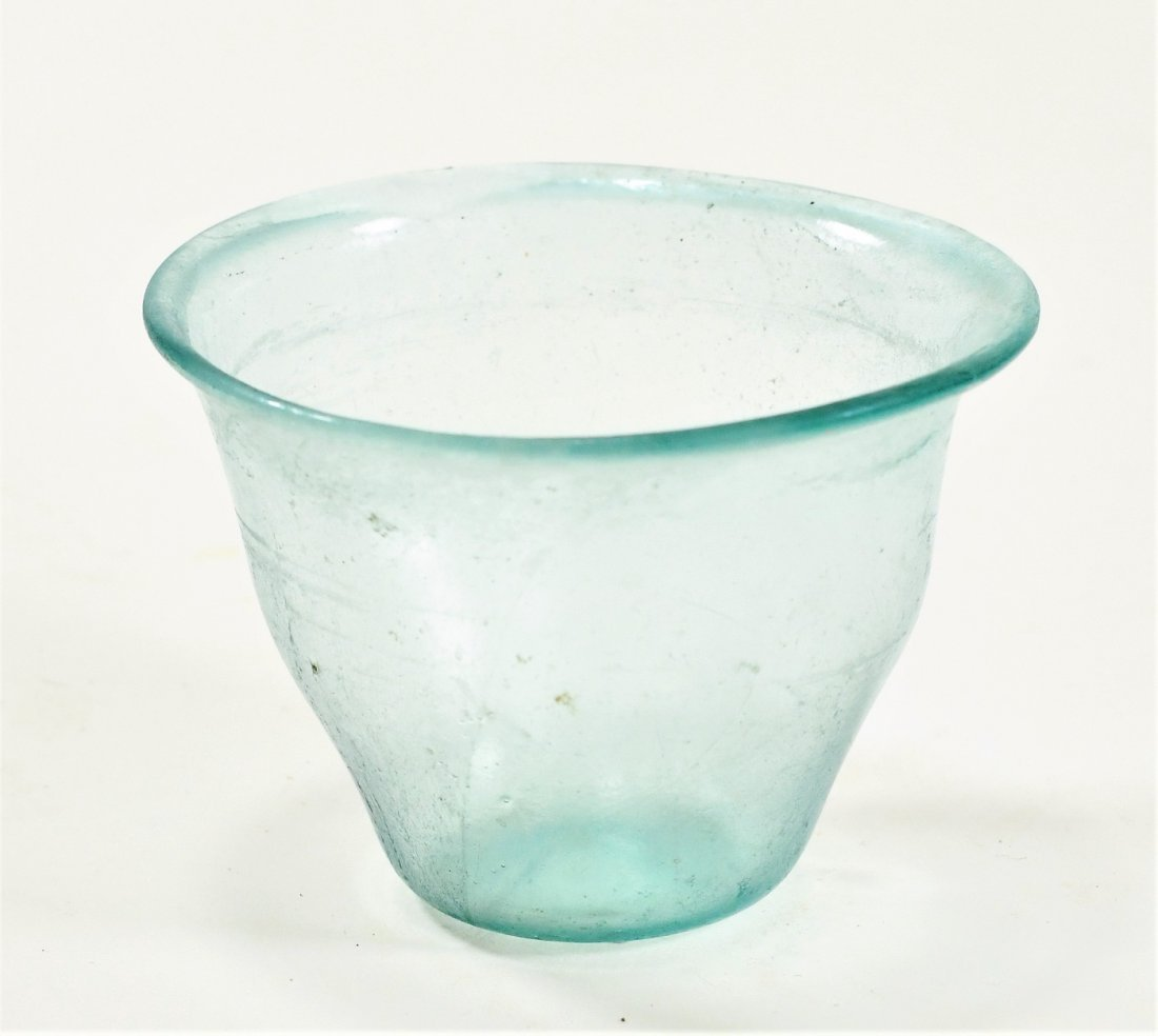 A Roman Bluish Green Glass Cup - 2