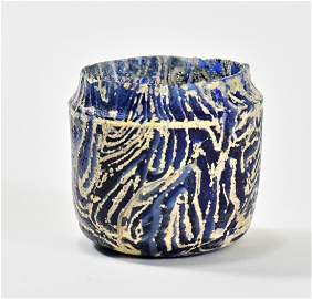 A Spectacular Roman Blue Glass Pyxis