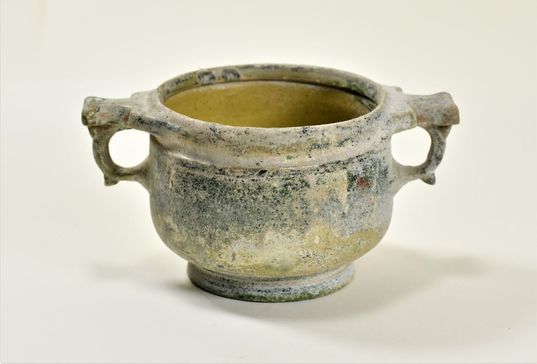A Roman Green Lead Glazed Skyphos - 2