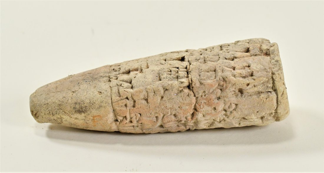 A Near Eastern Clay Cuniform Cone & Clay Relief Tablet - 3