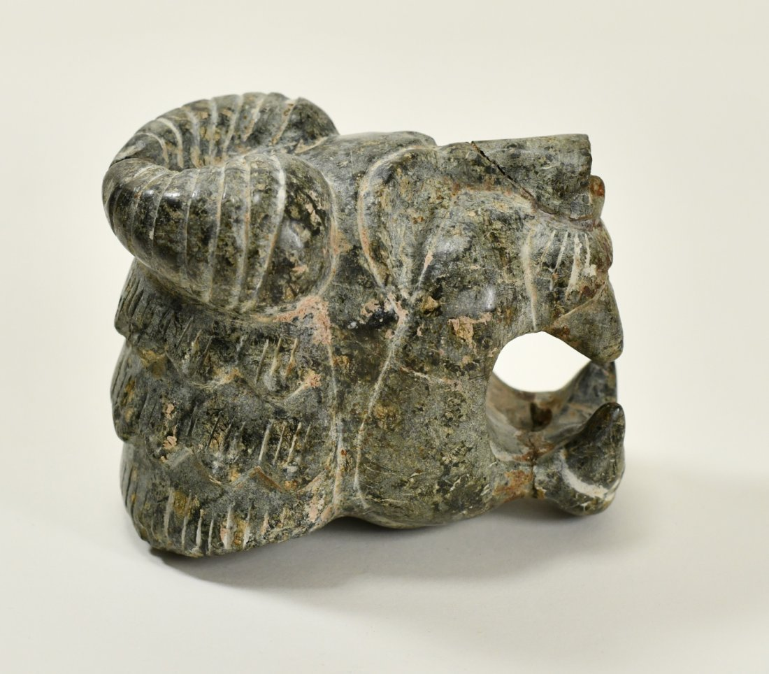 A Neo-Assyrian Stone Head of a Roaring Lion - 5