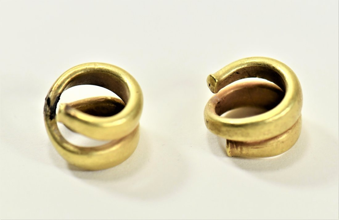 A Pair of Greek Gold Hair Rings