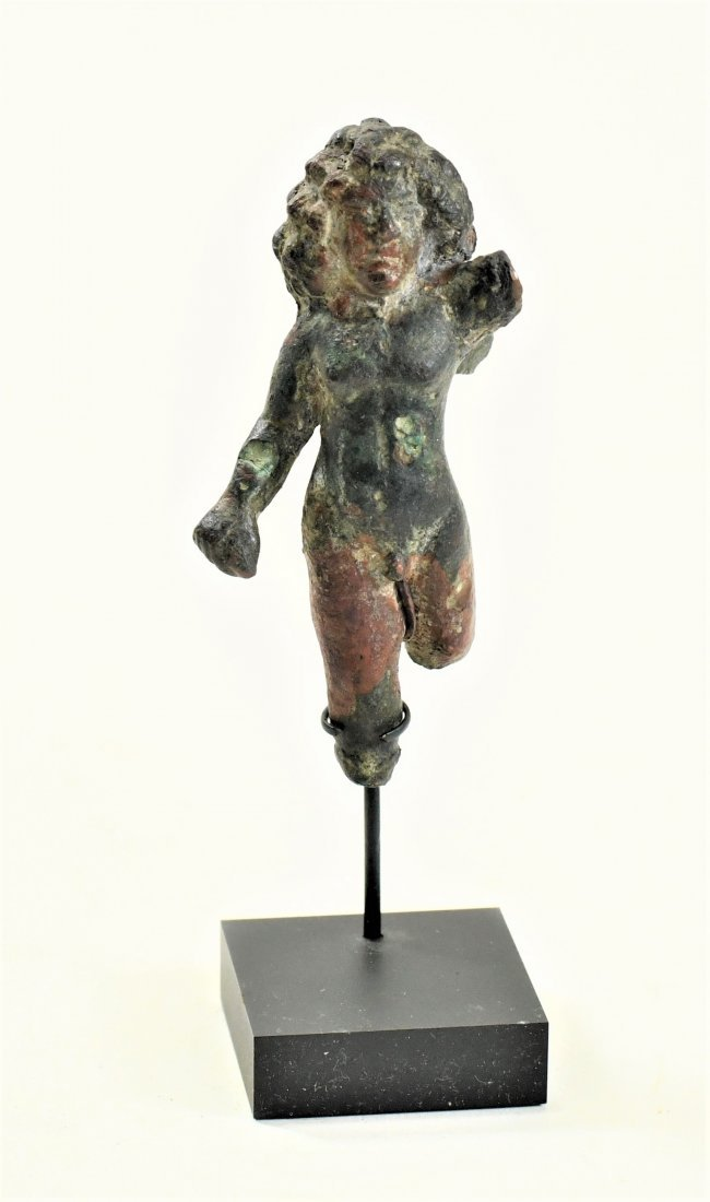 A Roman Bronze Figure of a Winged Eros - 2