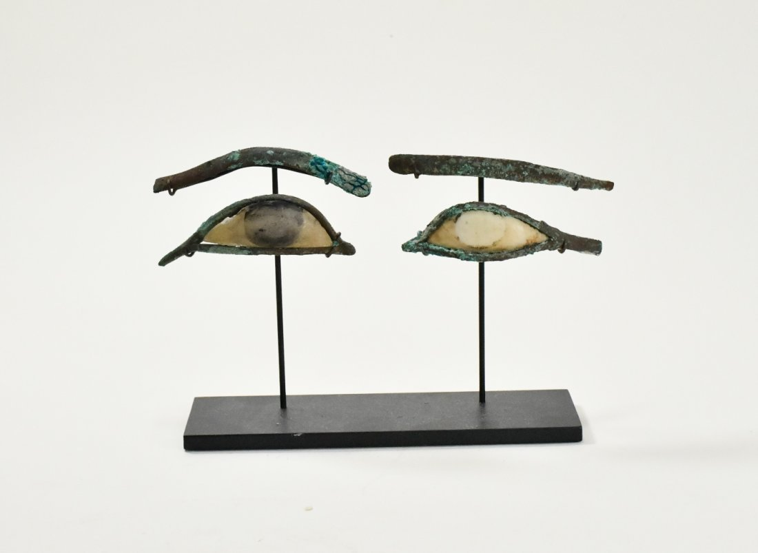 A Pair of Egyptian Bronze & Calcite Egyptian Eye Inlays