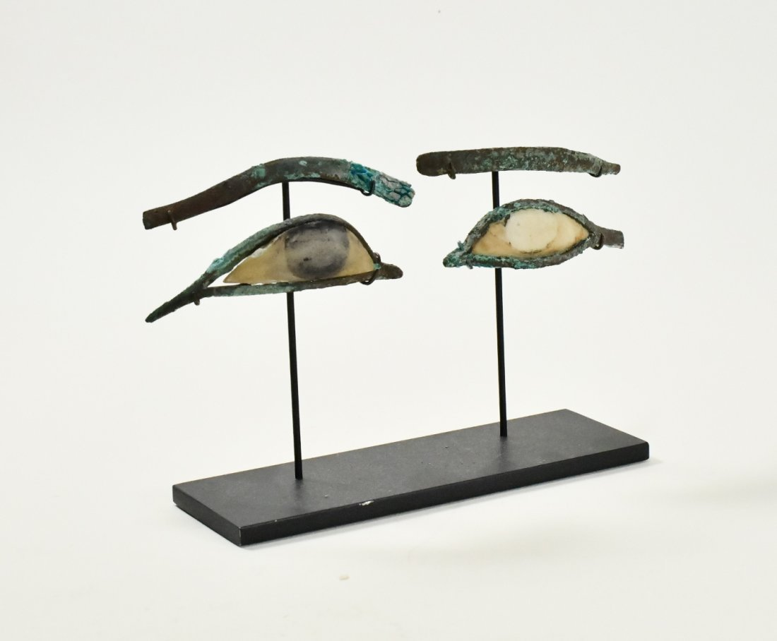 A Pair of Egyptian Bronze & Calcite Egyptian Eye Inlays - 2