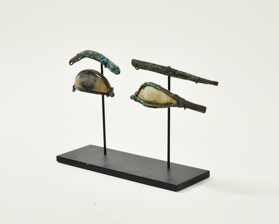 A Pair of Egyptian Bronze & Calcite Egyptian Eye Inlays - 3