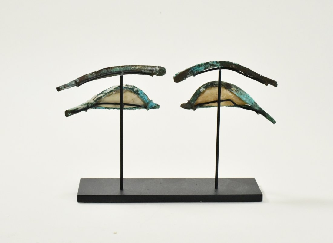 A Pair of Egyptian Bronze & Calcite Egyptian Eye Inlays - 4