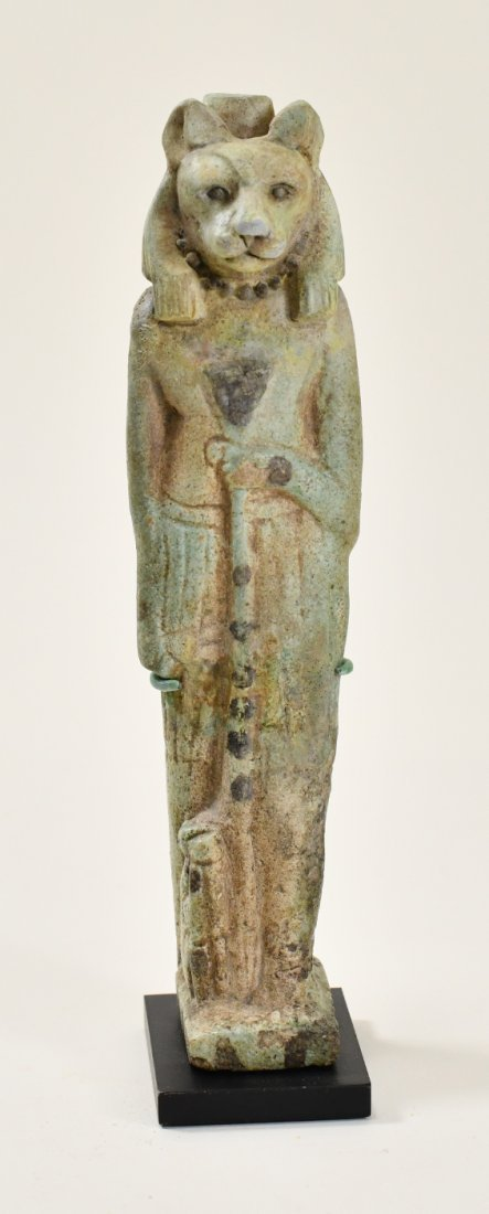 A Large Egyptian Green Glazed Faience Figure of Sekhmet