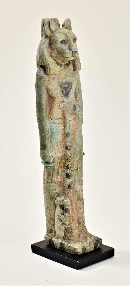 A Large Egyptian Green Glazed Faience Figure of Sekhmet - 2