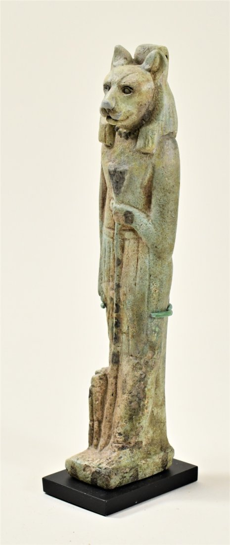 A Large Egyptian Green Glazed Faience Figure of Sekhmet - 3