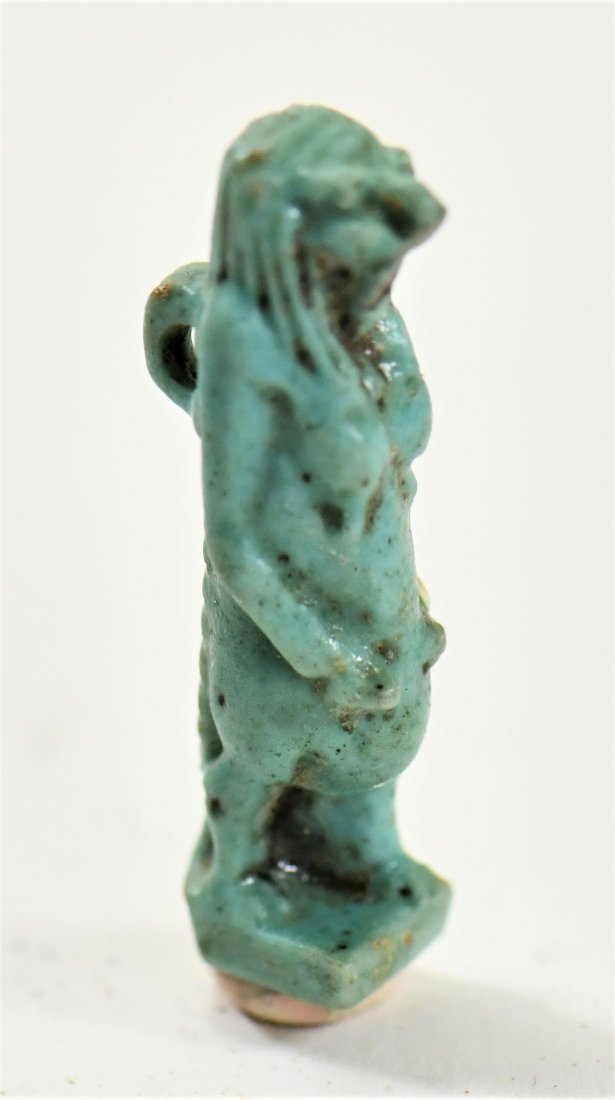 An Egyptian Blue Glaze Amulet of a Falcon-Headed Diety