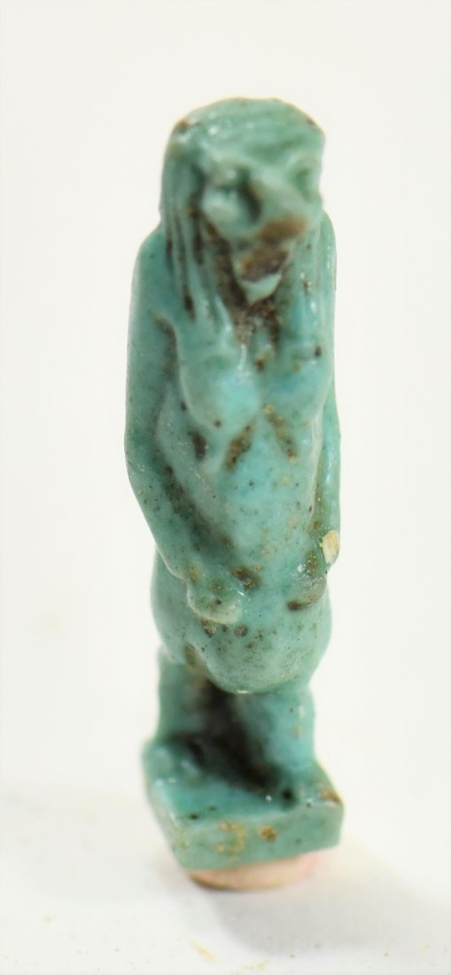 An Egyptian Blue Glaze Amulet of a Falcon-Headed Diety - 2