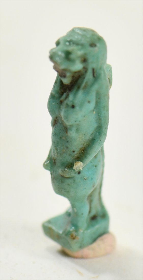 An Egyptian Blue Glaze Amulet of a Falcon-Headed Diety - 3