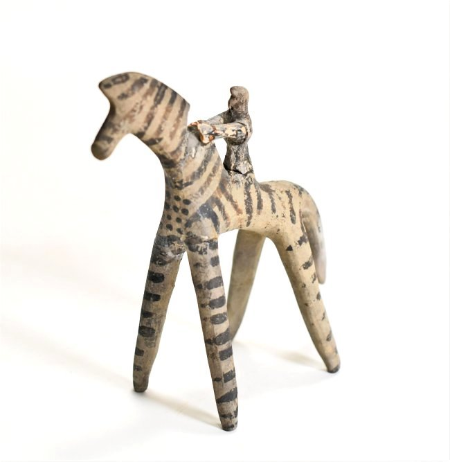 A Greek Terracotta Horse and Rider - 4
