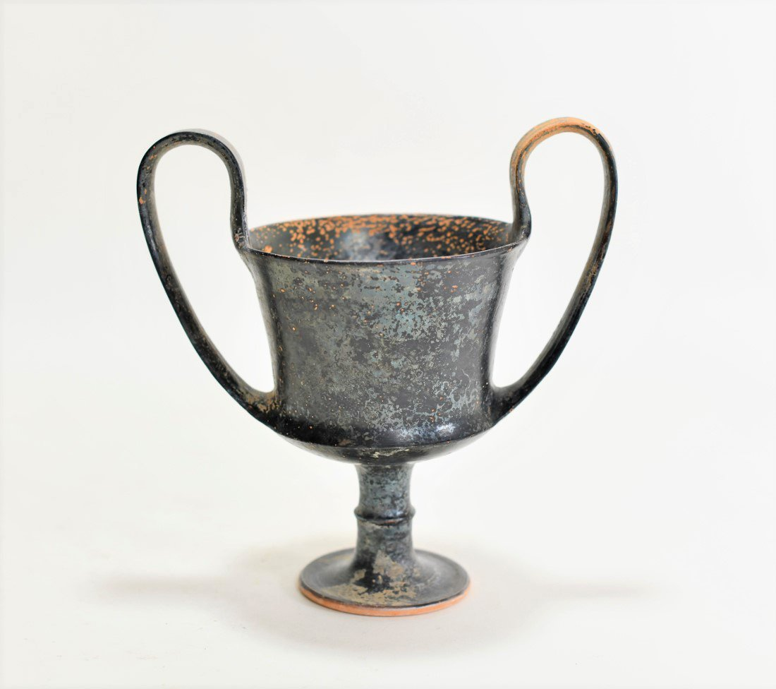 A Greek Black-Glazed Pottery Kantharos