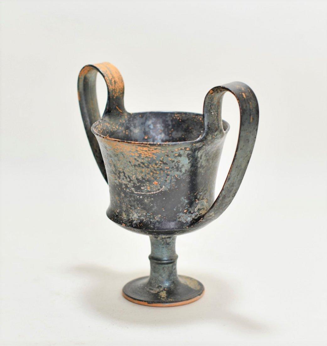 A Greek Black-Glazed Pottery Kantharos - 2