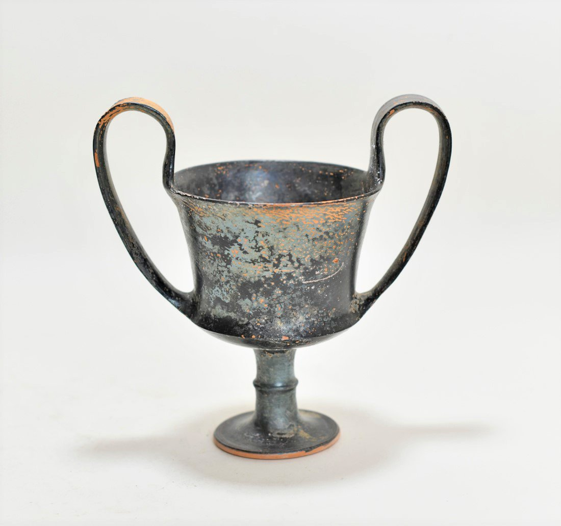 A Greek Black-Glazed Pottery Kantharos - 3