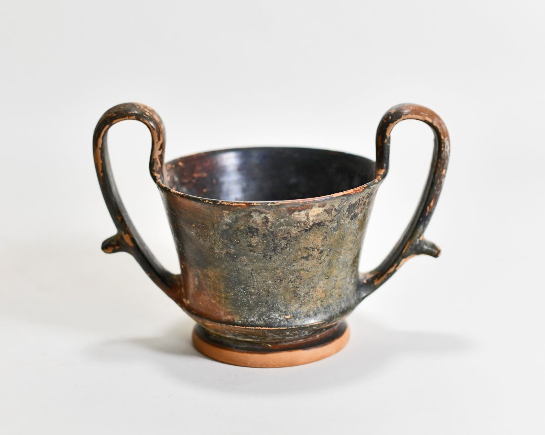 A Greek Boeotian Black-Glazed Pottery Kantharos