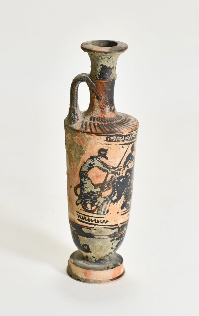 A Greek Pottery Lekythos of a Charioteer - 4