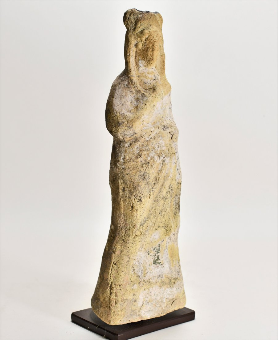 A Large Greek Female Standing Pottery Figure - 2