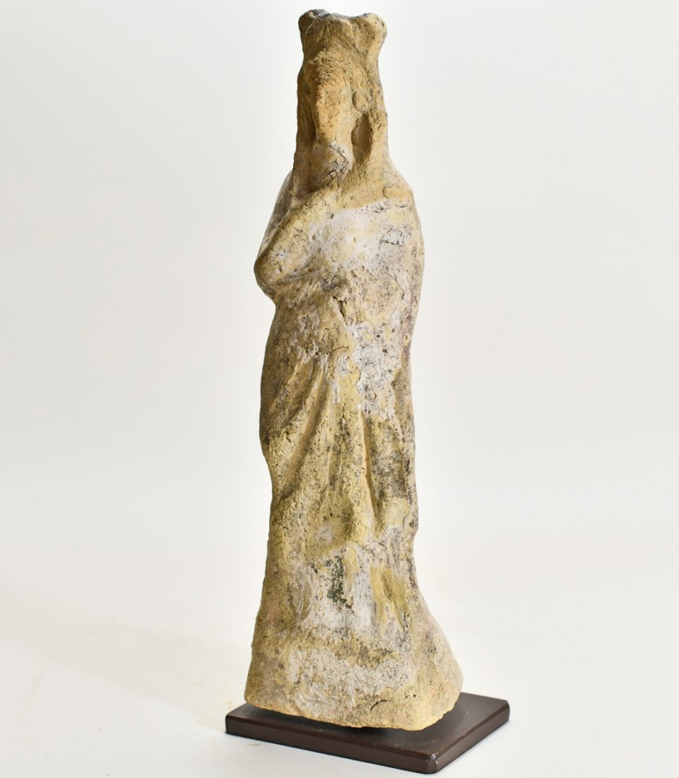 A Large Greek Female Standing Pottery Figure - 3