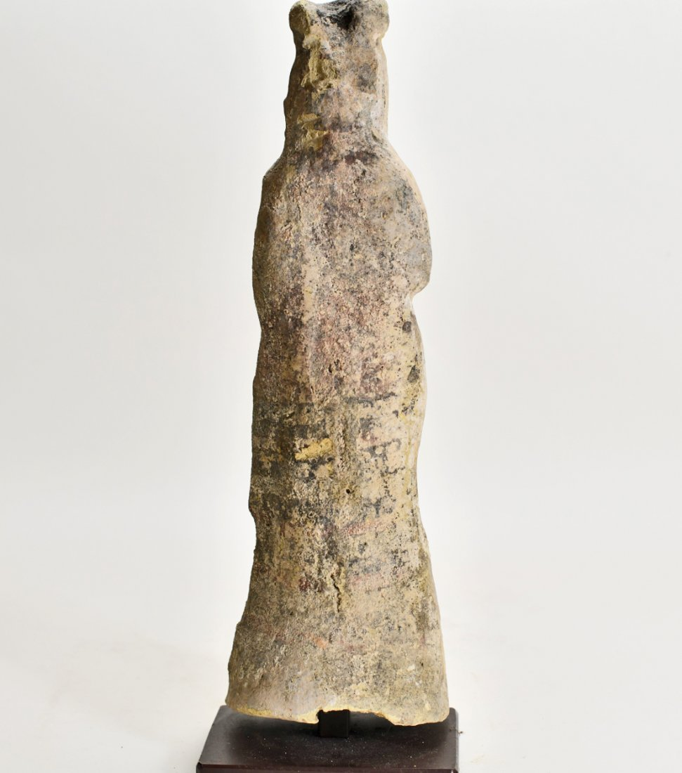 A Large Greek Female Standing Pottery Figure - 4